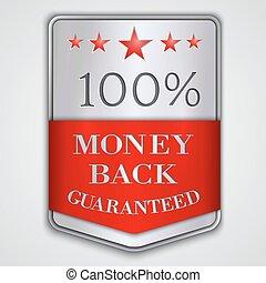 vector, badge, back, guaranteed, zilver, etiket, geld, tekst
