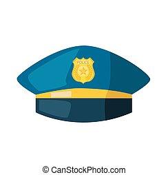 vector, badge, goud, spotprent, hoedje, politie