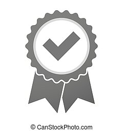 Vector badge icon with a check mark