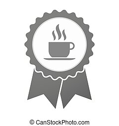 Vector badge icon with a cup of coffee