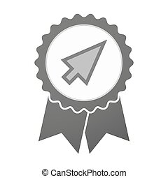 Vector badge icon with a cursor