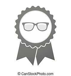 Vector badge icon with a glasses