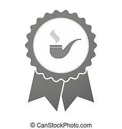 Vector badge icon with a smoking pipe