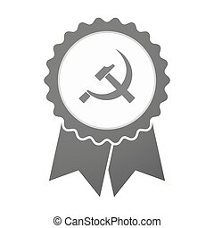 Vector badge icon with the communist symbol