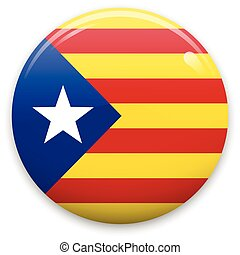 Vector badge or sticker with Catalonia flag. Isolated on white background.
