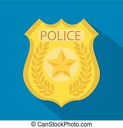 vector, badge, politie, spotprent, goud