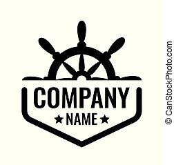 Vector badge with ship steering wheel isolated on white background