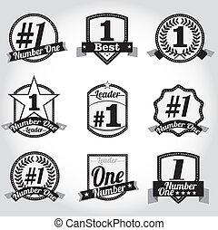 Vector badges certificates Number 1 - Vector badges,...