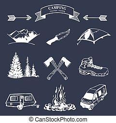 vector, badges., elementos, logotipos, campamento, vendimia, colección, al aire libre, conjunto, retro, señales, adventures., emblemas, turismo
