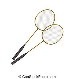Vector Badminton Rackets Isolated on White