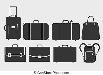 vector bag icons set