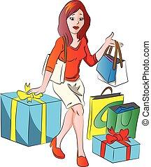 vector, bags., vrouw winkelen, giftbox