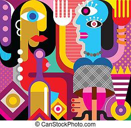 vector, bailando, dos, ilustración, mujeres