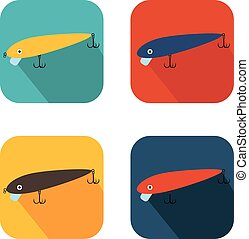 vector bait wobblers for fishing on square background in different colors