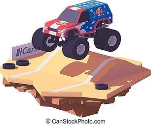 vector, bajo, poly, camión gigantesco