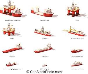vector, bajo, poly, petróleo cercano costa, exploración, naves