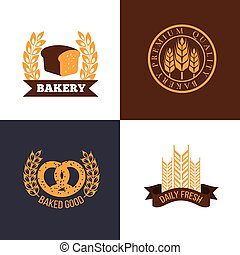 Vector bakery and bread shop logos labels badges with wheat ears