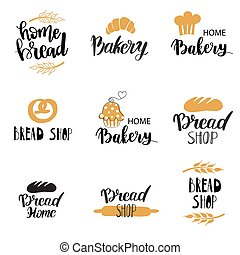 Vector Bakery, dessert shop or bakehouse logo set, tag or label design. Text and symbols on white background.
