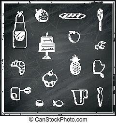 Vector Bakery Elements on a Black Chalkboard