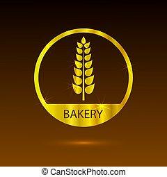 Vector Bakery Logo, Golden Wheat Ear in Circle.