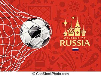 vector, bal, kop, voetbal, welkom, net, voetbal