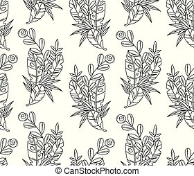 Vector balck and white seamless pattern of tropical leaves and flower.