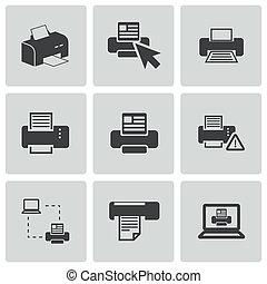 vector, balck, impresora, iconos, conjunto