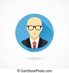 Vector Bald Man in Business Suit Icon