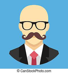 Vector Bald Man with Mustache in Bu