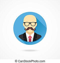 Vector Bald Man with Mustache