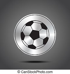 Vector ball icon metallic isolated on dark background