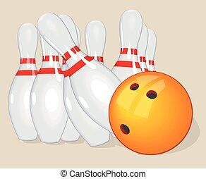 Vector ball. Realistic illustration. Bowling  and pins.