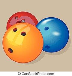 Vector ball. Realistic illustration. Bowling balls.