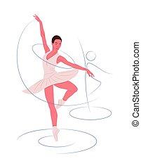 Vector ballerina in shadow of sharp lines style