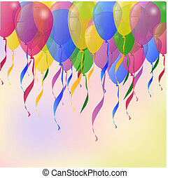 vector, ballons, achtergrond