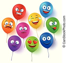 Vector balloon faces colorful set with funny facial expressions