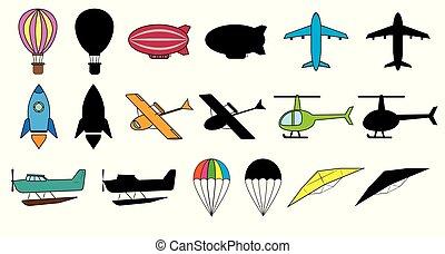 vector, balloon, set, illustration., kleurrijke, ruimte,...