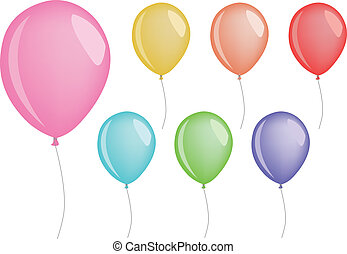 set of colored party balloons, vector