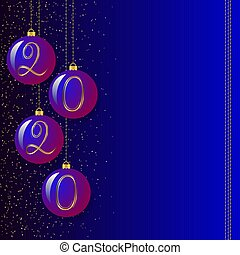 Vector balls for christmas tree with numbers 2020. Christmas toys hang on a blue background with sparkles. Christmas decoration in a flat style for the design of cards, leaflets