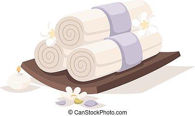 vector., balneario, toallas, aroma