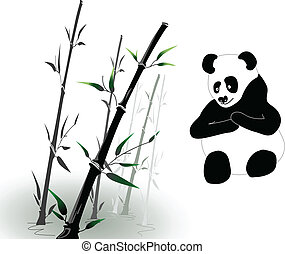 vector bamboo and panda