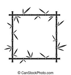 Vector bamboo square frame isolated.