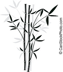 vector bamboo - vector black and white illustration of ...
