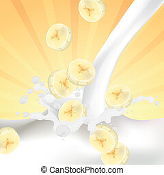 Vector Bananas falling into a Splash of Milk - Vector...
