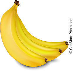 Vector bananas - Three yellow juicy bananas isolated on...