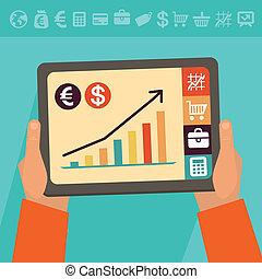 vector, banca, concepto, en línea