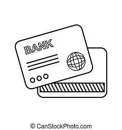 vector, banco, tarjeta, icono