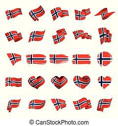 vector, bandera de norway, ilustración