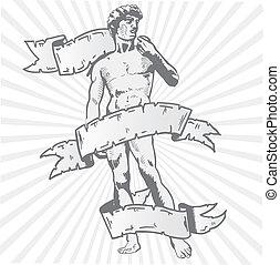 vector, bandera, estatua, ilustración, david