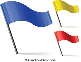 vector, bandera, iconos
